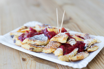 Closeup of Popular Austrian Dessert Kaiserschmarrn Served for Takeaway