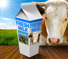 Fresh Milk Carton in Countryside with Cow