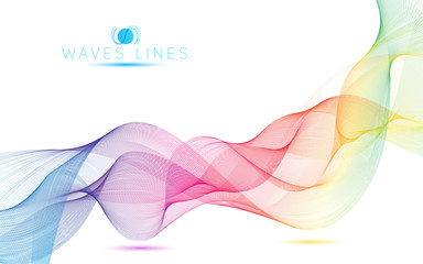 rainbow waves colorful gradient light blend line vector curves