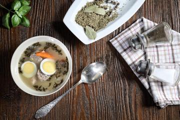 Delicious white borscht