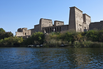 Egypt, Aswan, view of the Philae temple on the Nile river