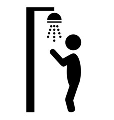Summer beach pool shower flat people pictogram icon isolated on