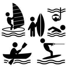 Summer water sport pictograms flat people icons isolated on whit