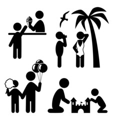 Summertime pictograms flat people icons isolated on white backgr