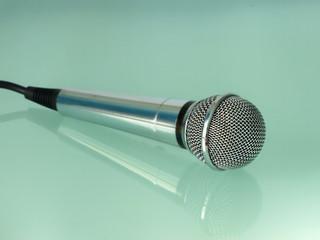 Silver metallic microphone.