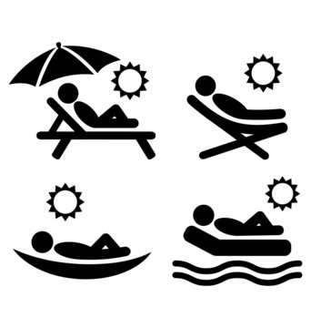 Summer relax sunbathing pictograms flat people icons isolated on