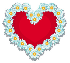 Red heart surrounded of white daisies