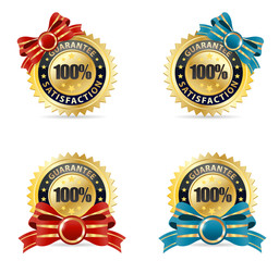 vector set golden red and ribbon badge