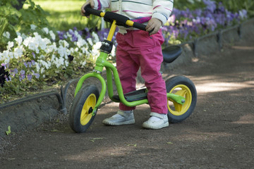Little girl practicing cycling