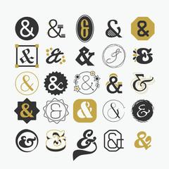 Ampersand sign and symbol design elements set