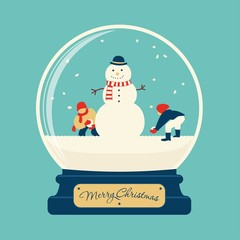 Merry christmas glass ball with snowman
