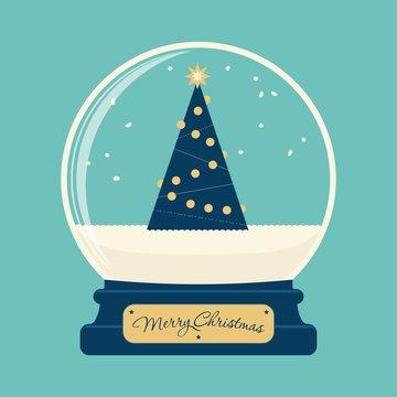 Merry christmas glass ball with tree