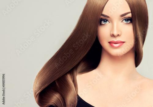Beautiful Girl With Brown Hair Long Straight Hair Shine Imagens E