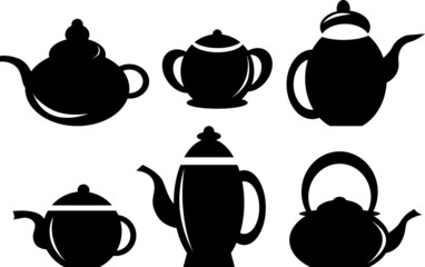 Set of coffee pot, kettles isolated on white background.
