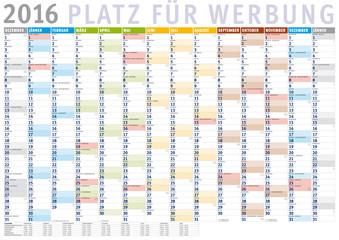 Kalender 2016 Österreich (Dezember 2015 bis Januar 2017) mit Ferien