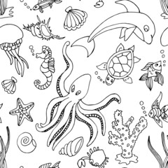Hand drawn seamless pattern with different sea creatures
