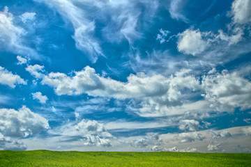 Funny clouds over green meadow