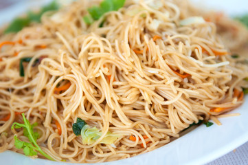 Close-up Thai food; spicy fried noodle