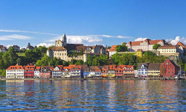 Picturesque views of the Meersburg embankment, Bodensee, Germany
