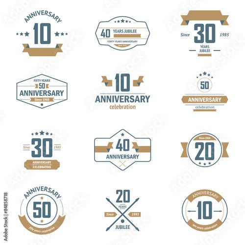 Vector Set Of Anniversary Color Signs Symbols 10 15 20 25 30