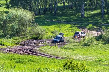 Помощь в бездорожье.Один автомобилист помогает другому вытащить забуксовавший автомобиль из канавы