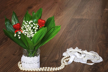 composition bouquet of lilies of the valley lace