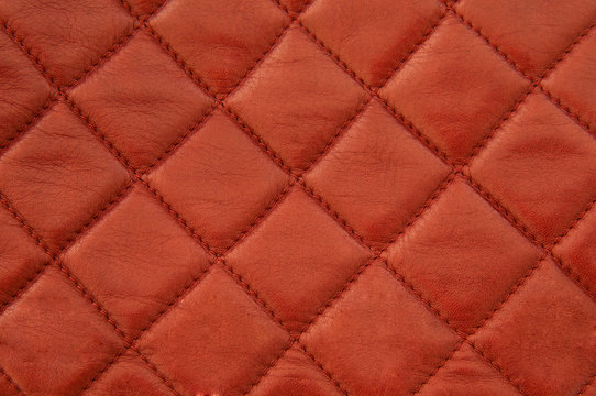 Squared red leather