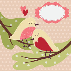 Greeting card with cute bird.