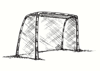 Big football and basketball goal. Vector drawing