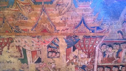 The mural painting in wat phasing temple at chiangmai thailand