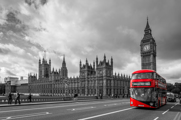 Printed kitchen splashbacks London red bus Houses of Parliament and a bus, London in UK