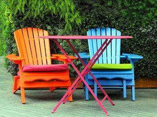 Brightly painted garden furniture