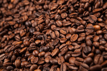 Wall Mural - roasted coffee beans close up