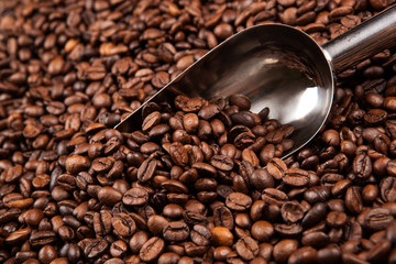 Wall Mural - roasted coffee beans with scoop