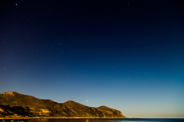 Starry night sky on Favignana Island in Sicily