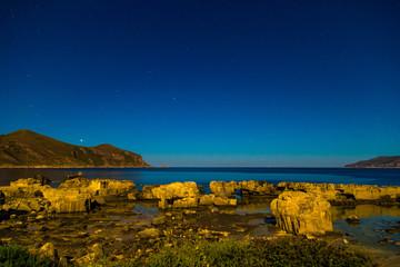 Starry night sky on Favignana Island in Sicily