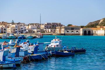 Fishing boats in Port of Favignana in Sicily