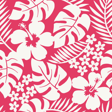 Seamless one color tropical flower pattern