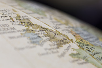 Macro of England on a globe, narrow depth of field
