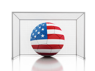 3d Soccer ball with united states flag
