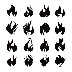 set of black flame icon