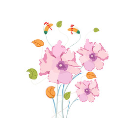 Poppy flowers, watercolor