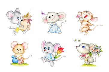 Set of 6 cute mice