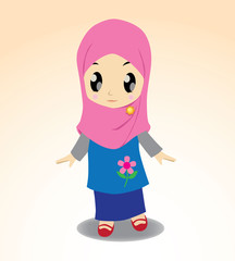 Chibi Hijab, a cute chibi muslimah with her pink hijab