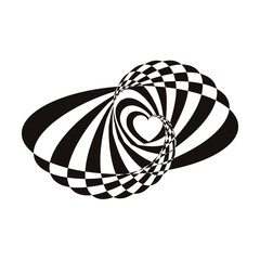 Geometric optical illusion black and white abstract heart on a