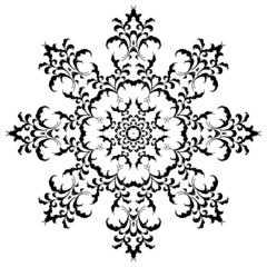 Circular floral ornament in black and white. Mandala, Yantra