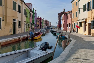 Burano waterstreet - canale with boats, Burano, Italy