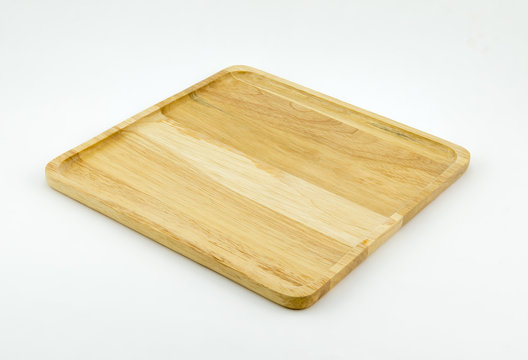 A square wood tray isolated white.