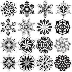 Set of round pattern tattoo. 16 Mandalas in black