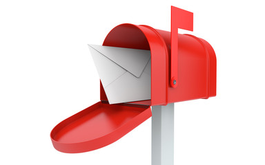 Incoming mail. mailbox with letter isolated
